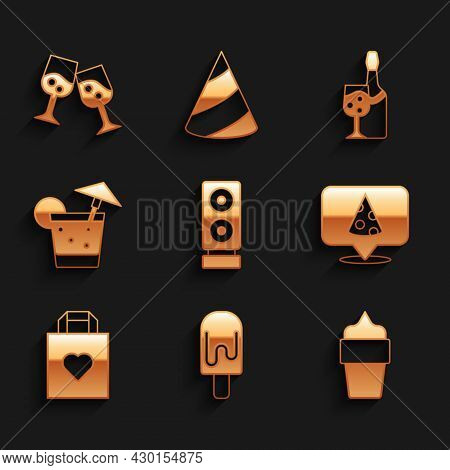 Set Stereo Speaker, Ice Cream, In Waffle Cone, Slice Of Pizza, Shopping Bag With Heart, Cocktail, Ch