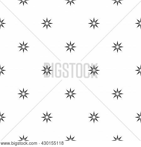 Seamless Background With Black And Stars On White Background. Black Beads String With Stars. Vector
