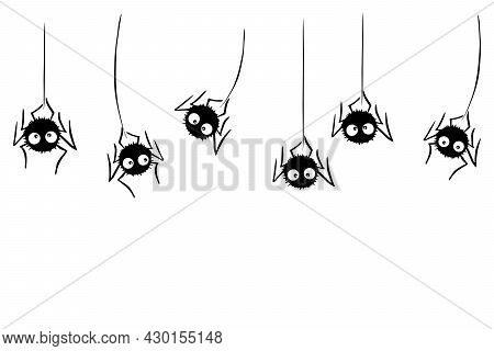 Cute Black Spiders Hanging And Swing On The Web. Hand Drawn, Isolated, Seamless Pattern Of Border. V