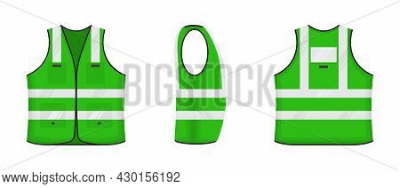 Safety Reflective Vest Icon Sign Flat Style Design Vector Illustration Set. Green Fluorescent Securi