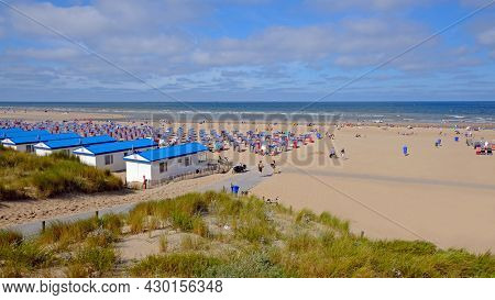 The beach at Katwijk aan Zee on a beautiful summer day in the Netherlands