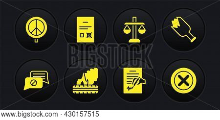 Set Speech Bubble Chat, Broken Bottle As Weapon, Lying Burning Tires, Petition, Scales Of Justice, P