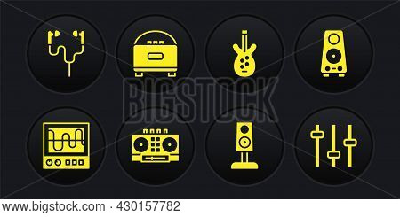 Set Oscilloscope, Stereo Speaker, Dj Remote And Mixing Music, Electric Bass Guitar, Music Equalizer