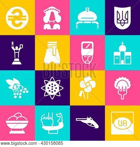 Set Flag Of Ukraine, Dumplings On Fork, Church Building, Bread And Salt, Cossack Pants, Mother Mothe