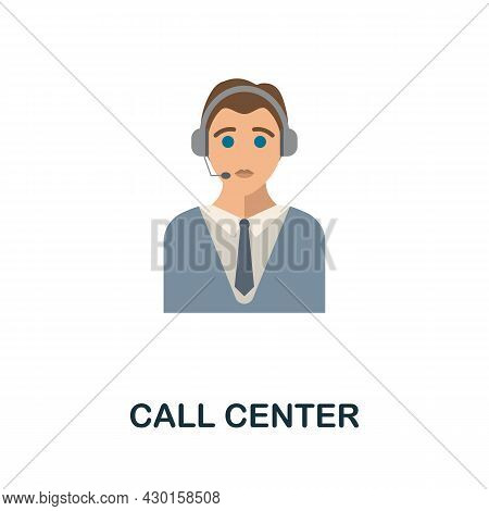 Call Center Flat Icon. Colored Sign From Customer Service Collection. Creative Call Center Icon Illu