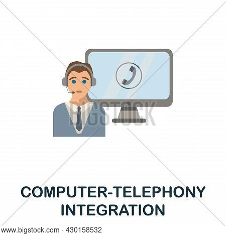 Computer-telephony Integration Flat Icon. Colored Sign From Customer Service Collection. Creative Co