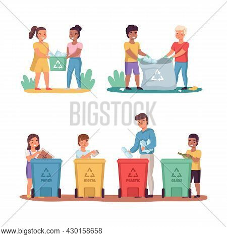 People Sort Garbage. Clean Up Trash Outdoor, Lay Out Color Containers, Responsible Boys And Girls Na