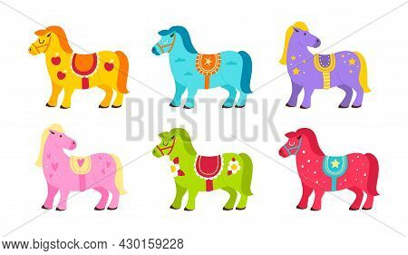 Cute Horses. Cartoon Bright Color Ponies With Decor Elements And Different Saddles, Little Funny Equ