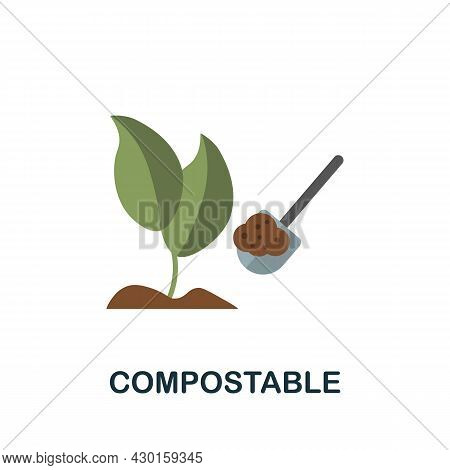Compostable Icon. Flat Sign Element From Eco Friendly Product Collection. Creative Compostable Icon