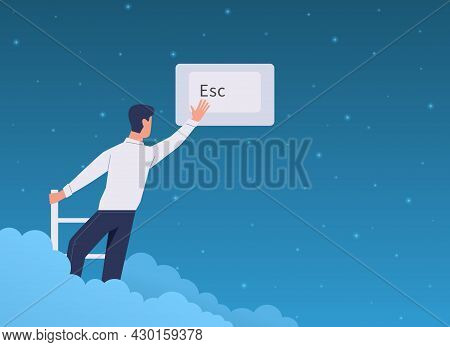Escape, Exit. Cartoon Man Presses On Esc Keyboard Interface Button. Character Climbs Staircase In Sk