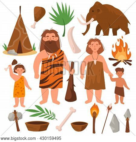 Stone Age. People Of Prehistoric Times. Cartoon Family Tribe. Cute Cavemen. Mammoth And Dwelling Mad