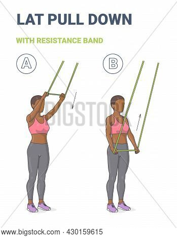 African American Girl Doing Lat Pulldown Home Workout Exercise With Thin Resistance Band Or Loop Gui