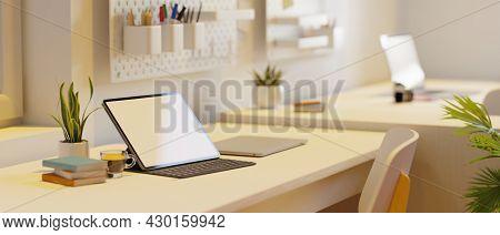 Campus Dorm, Tablet Blank Screen Mockup In Modern Minimal Workspace