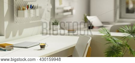 Modern Workspace In Campus Accommodation, Copy Space On White Working Desk, Laptop, Stationery, Deco