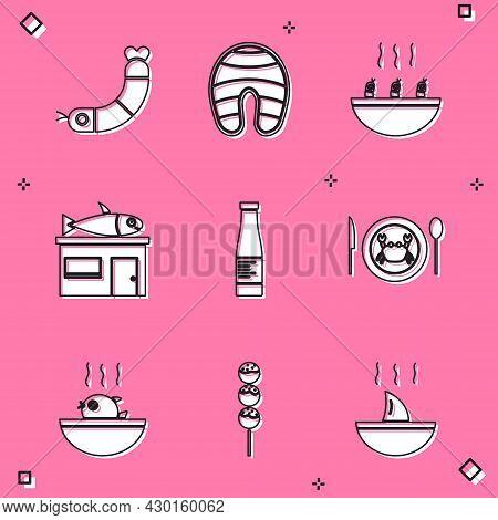 Set Shrimp, Fish Steak, Soup With Shrimps, Seafood Store, Sauce Bottle, Served Crab On Plate, Puffer