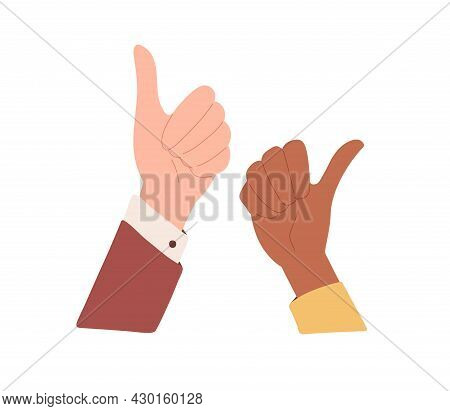 Diverse Human Hands With Thumb Up. Positive Like And Ok Gesture, Expressing Satisfaction, Agreement