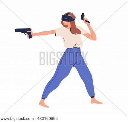 Happy Person In Vr Glasses Playing Virtual Game With Augmented Reality. Woman Gamer In Goggles Shoot