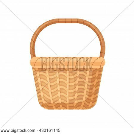 Straw Basket With Woven Handle. Empty Wicker Without Lid. Realistic Basketwork For Storage. Handmade