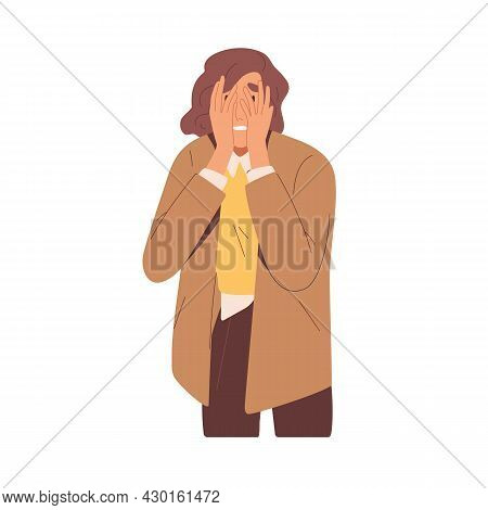 Embarrassed Shy Woman Hiding Face With Hands. Upset Person In Despair Feeling Stress And Shame After