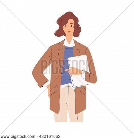 Businesswoman Portrait. Woman Entrepreneur Standing With Tablet In Hands. Business Advisor Or Manage
