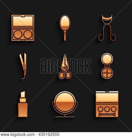 Set Scissors, Round Makeup Mirror, Eye Shadow Palette, Makeup Powder With, Lipstick, Curling Iron, E