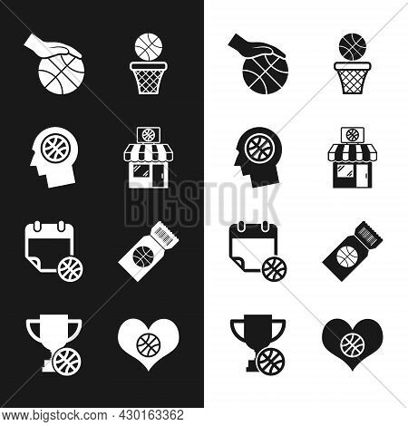 Set Sports Shop And Basketball, Thoughts On, Hand With, Basketball, Sport Calendar, Game Ticket, Hea