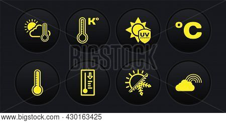Set Meteorology Thermometer, Celsius, Sun And Snowflake, Uv Protection, Rainbow With Cloud And Therm