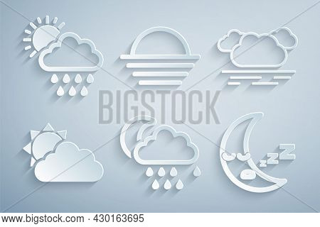 Set Cloud With Rain And Moon, Sun Cloud Weather, Moon Icon, Sunset And Sun Icon. Vector