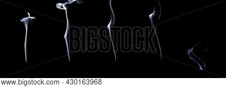 Smoke Steam Set. Blur White Smoke, Abstract Fog Group Or Steam Mist Cloud Isolated On Black Backgrou