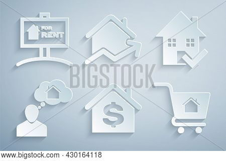 Set House With Dollar, Check Mark, Man Dreaming About Buying House, Shopping Cart, Rising Cost Of Ho