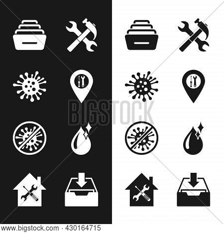 Set Location Service, Bacteria, Drawer With Documents, Crossed Hammer And Wrench, Stop Virus, Bacter
