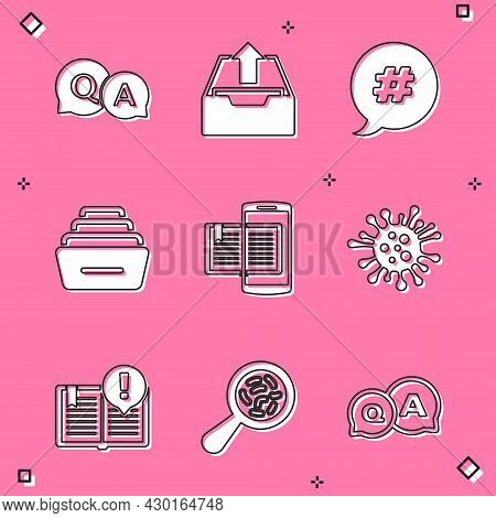 Set Question And Answer, Upload Inbox, Hashtag Speech Bubble, Drawer With Documents, Smartphone Book