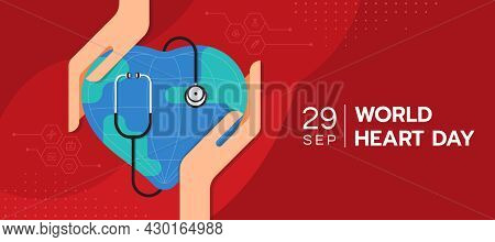 World Heart Day - Hand Hold Care Heart Globle World Sharp With Stethoscope Roll Around On Abstract R