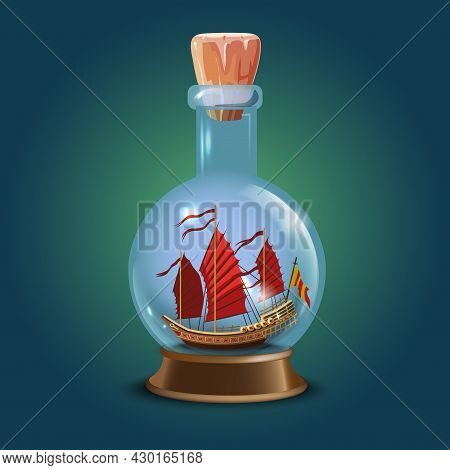Asian Or Japan Ship With Red Sails In A Bottle.sailing Crafts. Miniature Models Of Marine Vessels. H