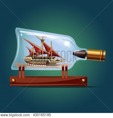 Galeon Ship With Red Sails In A Bottle.sailing Crafts. Miniature Models Of Marine Vessels. Hobby And