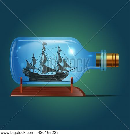 Pirate Black Ship In A Bottle.sailing Crafts. Miniature Models Of Marine Vessels. Hobby And Sea Them