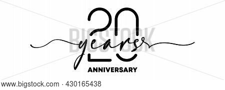 20 Years Anniversary Emblem. Anniversary Badge Or Label. 20th Celebration And Congratulation Design