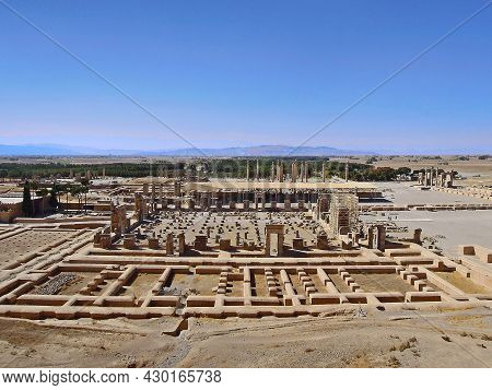 Panoramic View On The Remains Of Persepolis, Ancient Capital Of Persia, Now Museum Near Shiraz, Iran
