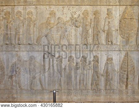 Reliefs Depicting The Persian Courtiers & Guardians Leading Guests To Their King. Guests & Their Ser