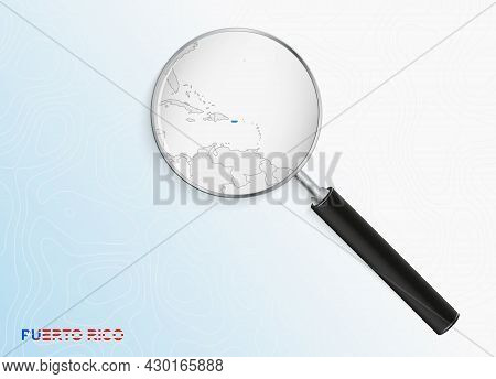 Magnifier With Map Of Puerto Rico On Abstract Topographic Background. Vector Map.