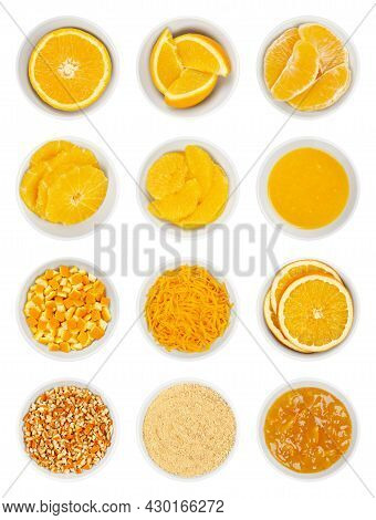 Oranges In White Bowls. Fresh Orange Half, Wedges, Segments, Cross Sections, Supreme Cut And Squeeze