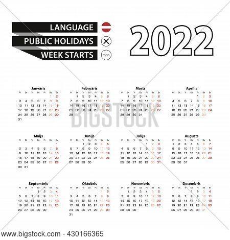 Calendar 2022 In Latvian Language, Week Starts On Monday. Vector Calendar 2022 Year.