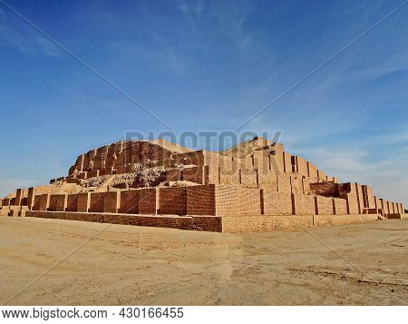 Side View On Ruins Of Ziggurat Chogha Zanbil, Shush, Iran. Complex Built In 1250 Bc, Ruined In 650 B