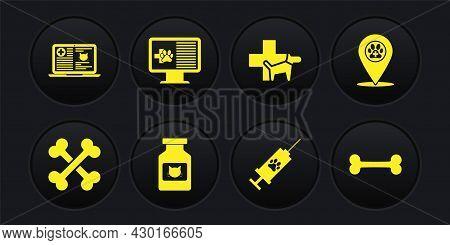 Set Crossed Bones, Location Veterinary, Cat Medicine Bottle, Syringe With Pet Vaccine, Veterinary Cl