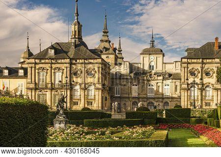 La Granja De San Ildefonso, Segovia, Spain; 07,23,2021: View Of The Royal Palace Of La Granja De San