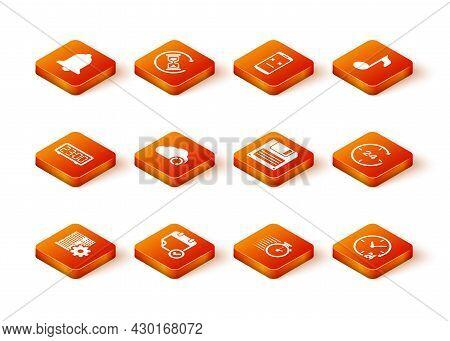 Set Server Setting, Calendar With Check Mark, Digital Alarm Clock, Cloud Sync Refresh, Stopwatch And