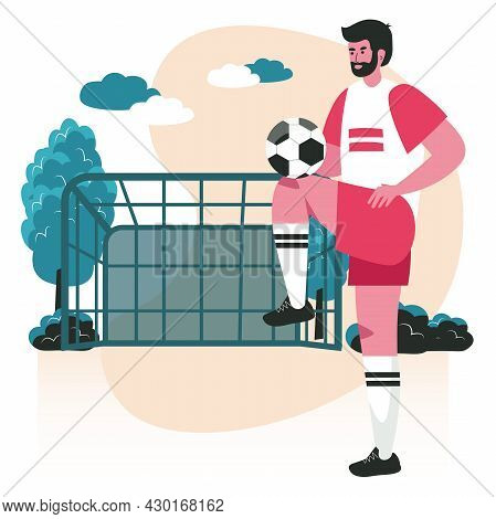 People Do Their Favorite Hobby Scene Concept. Man In Sports Uniform Learns To Play Soccer. Football