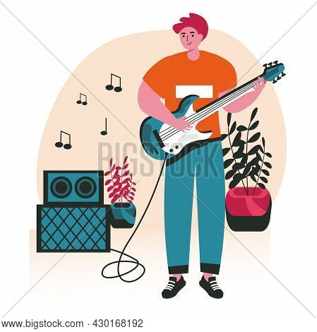 People Do Their Favorite Hobby Scene Concept. Man Is Learning To Play Guitar. Musician Performs Song