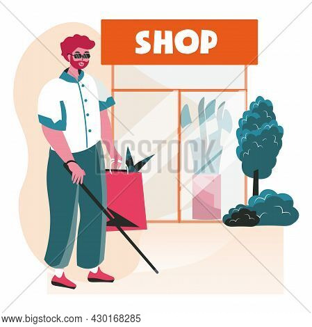 Disabled People Scene Concept. Blind Man With Cane Makes Purchases In Shop. Disabled Person Shopping