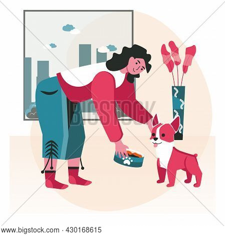 Pets With Their Owners Scene Concept. Woman Feeding Dog Food In Room. Taking Care Of Pets, Relations